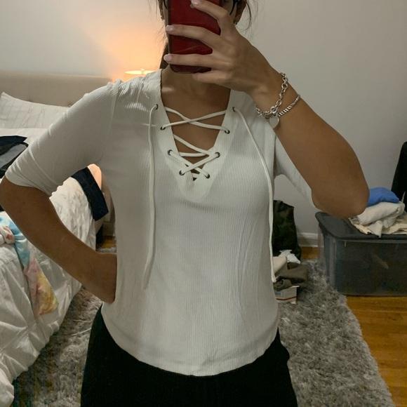 Topshop Tops - White cris cross front shirt
